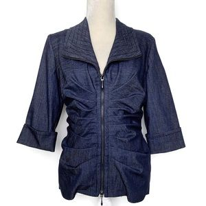 Joseph Ribkoff ruched zip up jacket